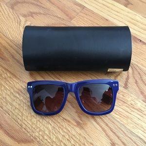 Derek Lam Blue Oversized Wayfarer Sunglasses